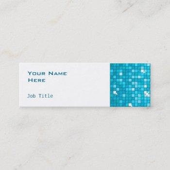 disco tiles blue side skinny white mini business card