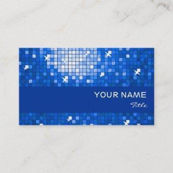 disco tiles dark blue business card blue stripe
