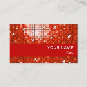 disco tiles red business card red stripe