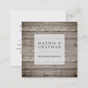 distressed vintage reclaimed wood square business card