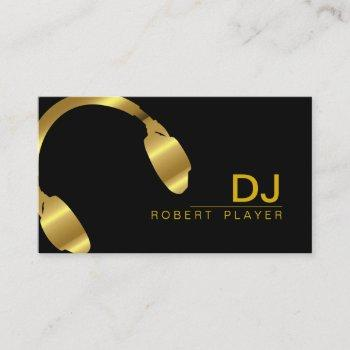 dj deejay professional headphone gold music business card