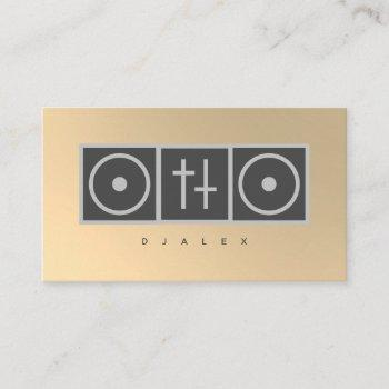 dj gold faux turntable mixer business card