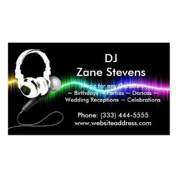 Small Dj Microphone Headphones Business Card Magnet Front View