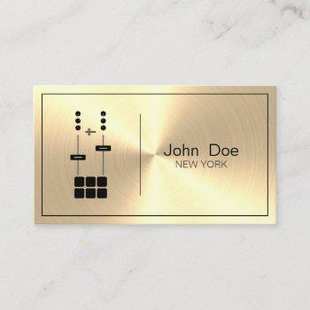 dj mixer gold faux business card