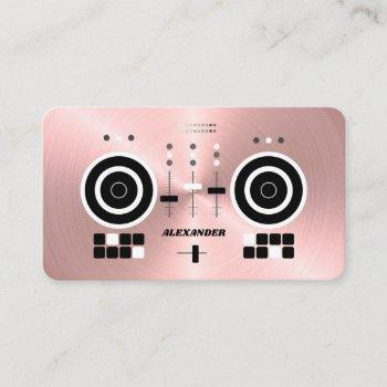 dj modern rose gold-tone faux 2019 business card