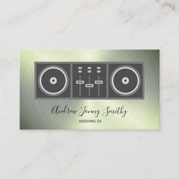 dj music turntable & dj mixer logo - faux metallic business card