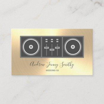 dj music turntable & dj mixer logo - gold faux business card