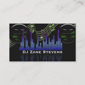 dj speakers, music staff, notes sound bar business card