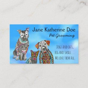 dog and cat pet grooming business cards