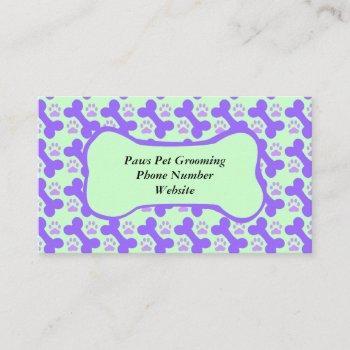 dog bone & paw business card
