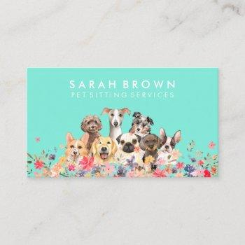 dog groomer neon green business card