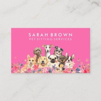 dog groomer neon pink business card
