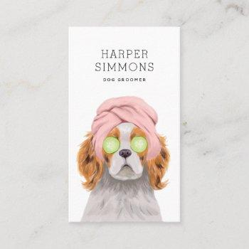 dog groomer pampered puppy business card