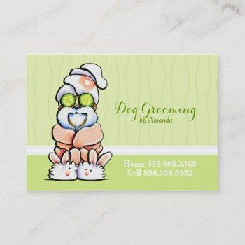dog groomer spa robed shih tzu cucumber business card