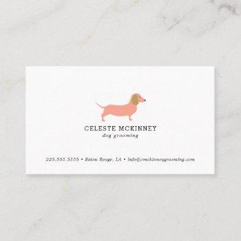 dog grooming dachshund business card