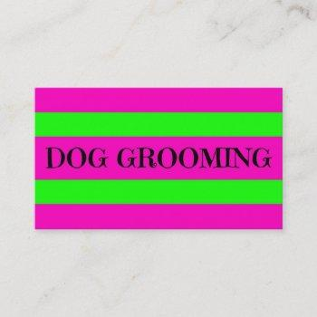 dog grooming neon green and hot pink business card