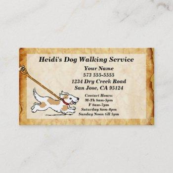 dog on leash dog walking service business card