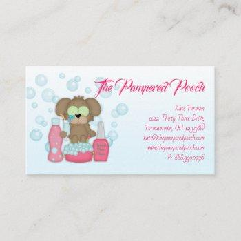 dog pampered pooch grooming wash business card