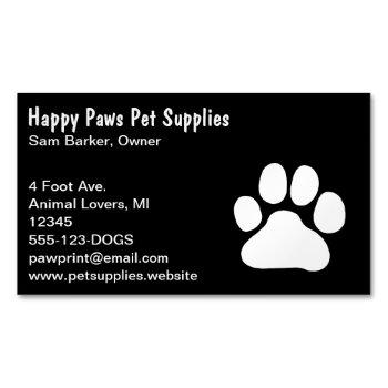 dog paw print | white on black | pet care business card magnet