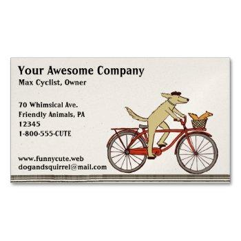 dog riding a bicycle with squirrel | cute animals magnetic business card