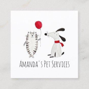 dog sitter cat sitter pet services grooming cute square business card