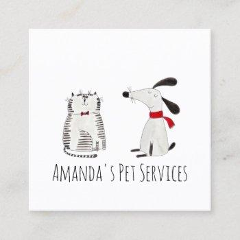dog sitter sitter pet service grooming cute sweet square business card