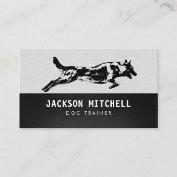 dog trainer - k9 trainer black and white business card