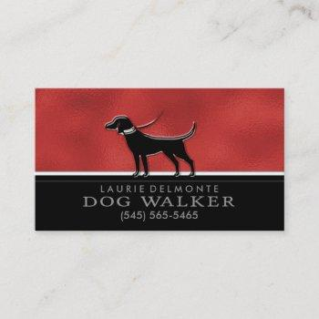 dog walker faux red & black custom business card