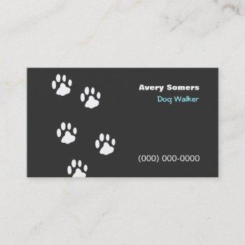 dog walker paws black  business card