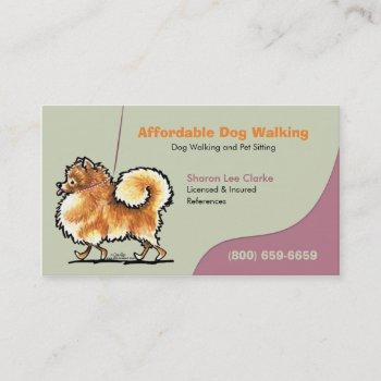 dog walker pet business pomeranian business card