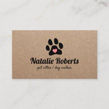 dog walker pet sitter paw heart rustic kraft business card