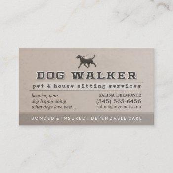 dog walker & pet sitting brown business card