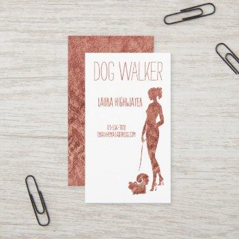 dog walker silhouette rose gold faux foil pet business card