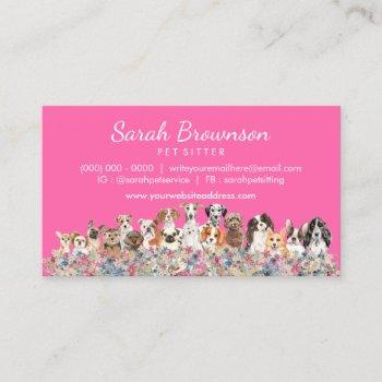 dogs floral frame pink business card