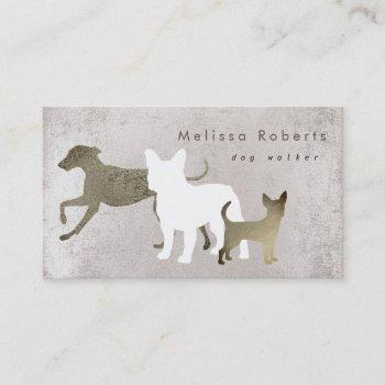 dogs silhouettes grey effect business card