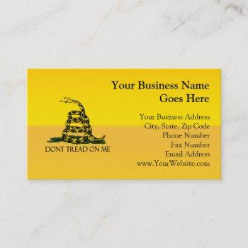 don't tread on me, yellow gadsden flag ensign business card
