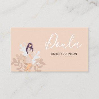 doula midwife birth coach floral woman silhouette  business card