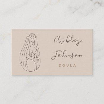 doula midwife birthing coach pregnant lady lineart business card