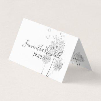 doula or midwife illustrated flower business card