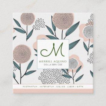 doula services hand drawn floral with monogram square business card