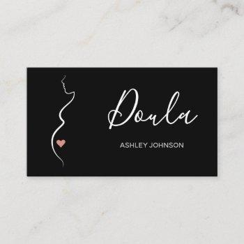 doula simple minimal clean black & white classic   business card