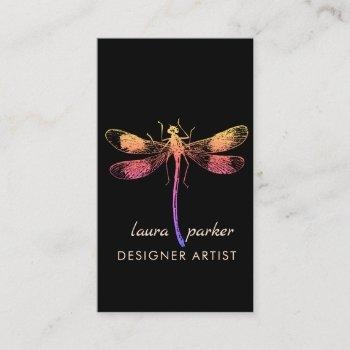 dragonfly retro vintage good luck tattoo business card