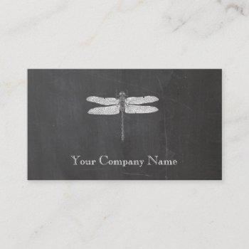 dragonfly vintage etching chalkboard look black business card