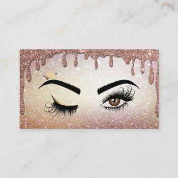 dripping gold makeup artist wink eye lashes business card