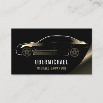driver metallic car black gold auto logo business card