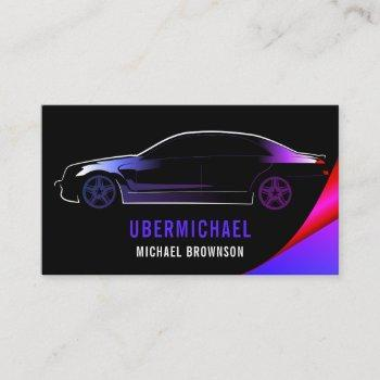 driver metallic car black purple neon auto business card