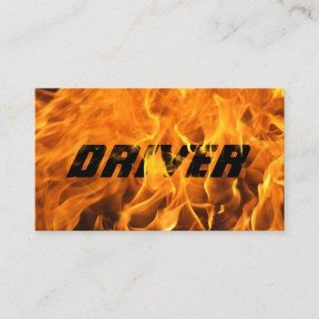 driver professional burning fire flame typography business card