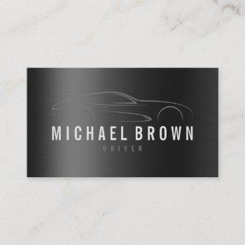 driver professional metallic logo minimalist business card