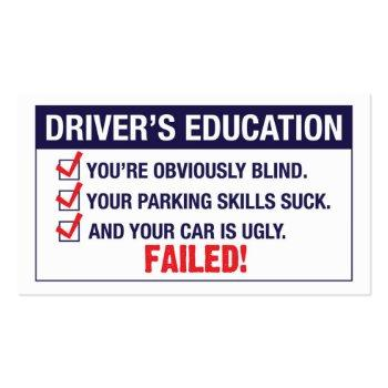 Small Driver's Education Failed Business Card Front View