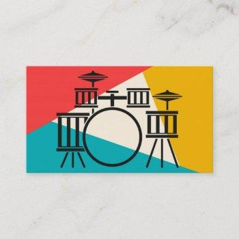 drum kit tri-color - turquoise coral gold business card